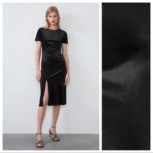 NWT. Zara Black Velvet Mini Dress. Size L.